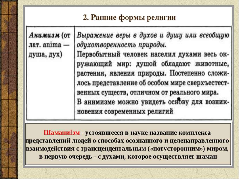2. Ранние формы религии Шамани зм - устоявшееся в науке название комплекса пр...