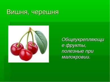 Вишня, черешня Общеукрепляющие фрукты, полезные при малокровии.