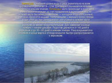 Амплитуда колебания уровня воды в реке значительна на всем протяжении и дости...