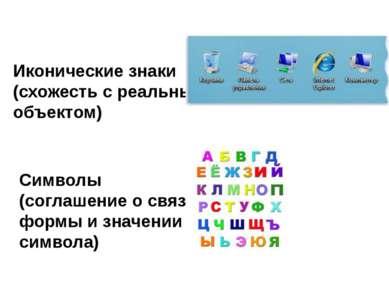 Иконические знаки (схожесть с реальным объектом) Символы (соглашение о связи ...