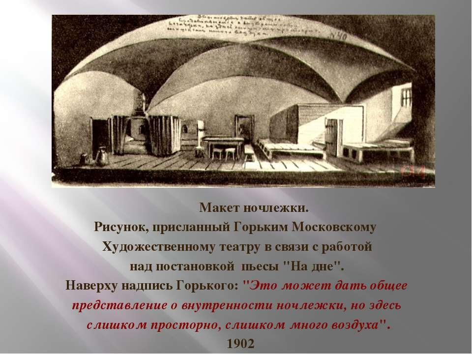 Макет ночлежки. Рисунок, присланный Горьким Московскому Художественному театр...