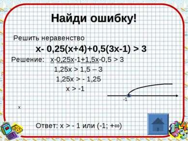 Найди ошибку! Решить неравенство х- 0,25(х+4)+0,5(3х-1) > 3 Решение: х-0,25х-...