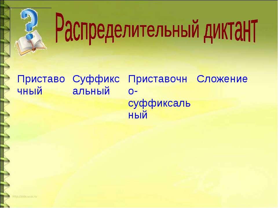 Приставочный Суффиксальный Приставочно-суффиксальный Сложение
