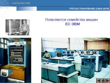 ТРЕТЬЕ ПОКОЛЕНИЕ (1964-1970) Появляются семейства машин ЕС ЭВМ ПОКОЛЕНИЯ ЭВМ