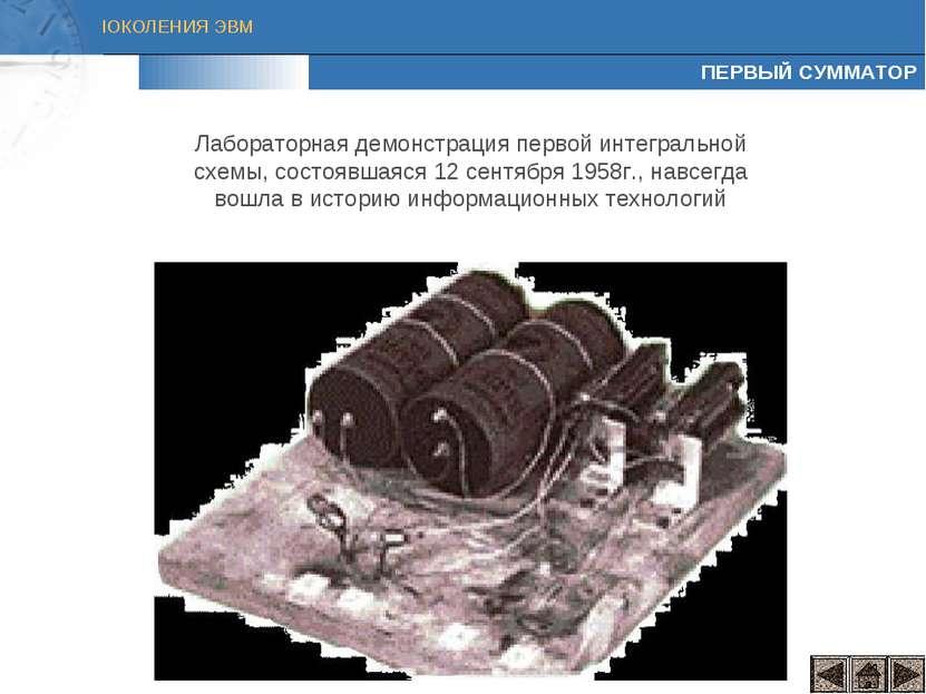 ПЕРВЫЙ СУММАТОР Лабораторная демонстрация первой интегральной схемы, состоявш...