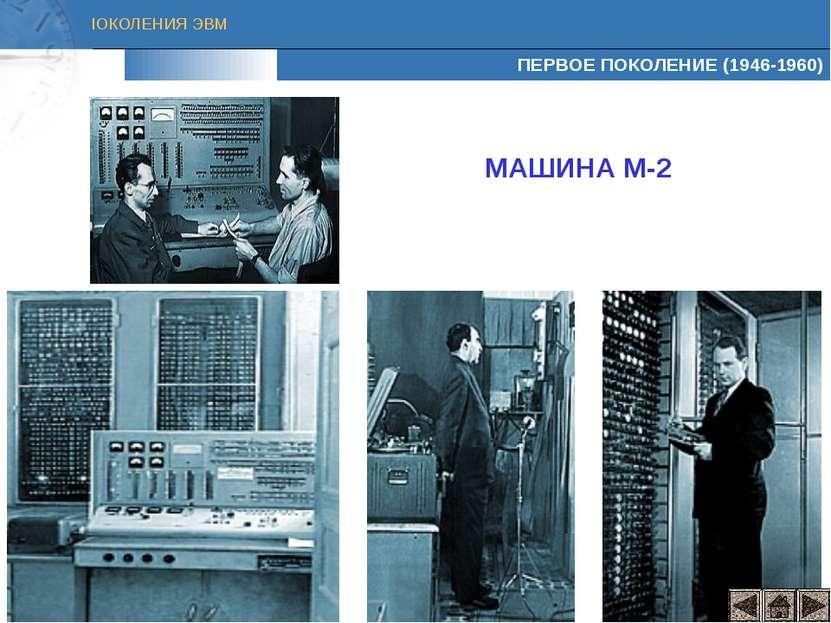 ПЕРВОЕ ПОКОЛЕНИЕ (1946-1960) МАШИНА М-2 ПОКОЛЕНИЯ ЭВМ