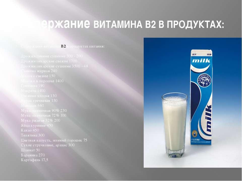 Содержание ВИТАМИНА В2 В ПРОДУКТАХ: Содержание витамина B2 в продуктах питани...
