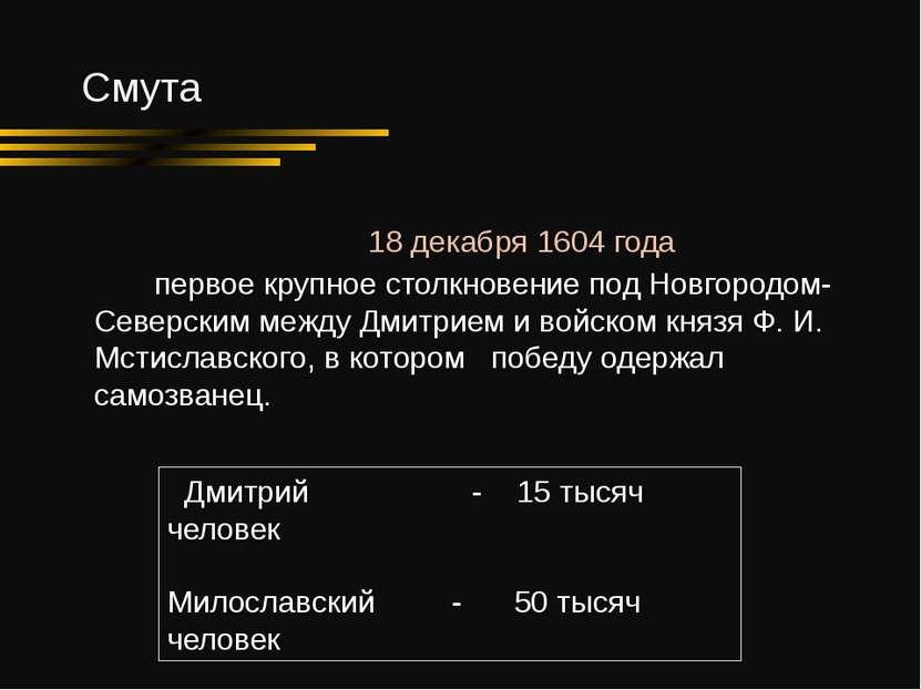 Смута Дмитрий - 15 тысяч человек Милославский - 50 тысяч человек 18 декабря 1...