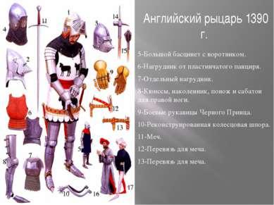 Английский рыцарь 1390 г. 5-Большой басцинет с воротником. 6-Нагрудник от пла...