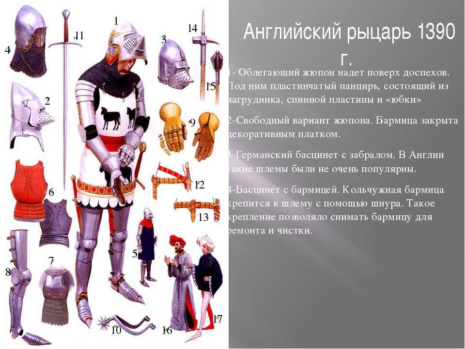 Английский рыцарь 1390 г. 1- Облегающий жюпон надет поверх доспехов. Под ним ...