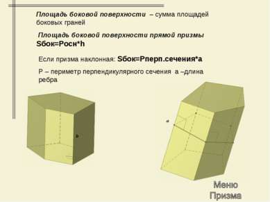 Площадь боковой поверхности – сумма площадей боковых граней Площадь боковой п...