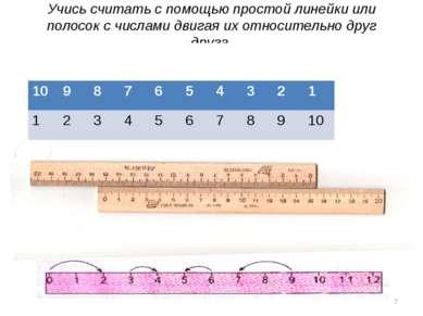Учись считать с помощью простой линейки или полосок с числами двигая их относ...