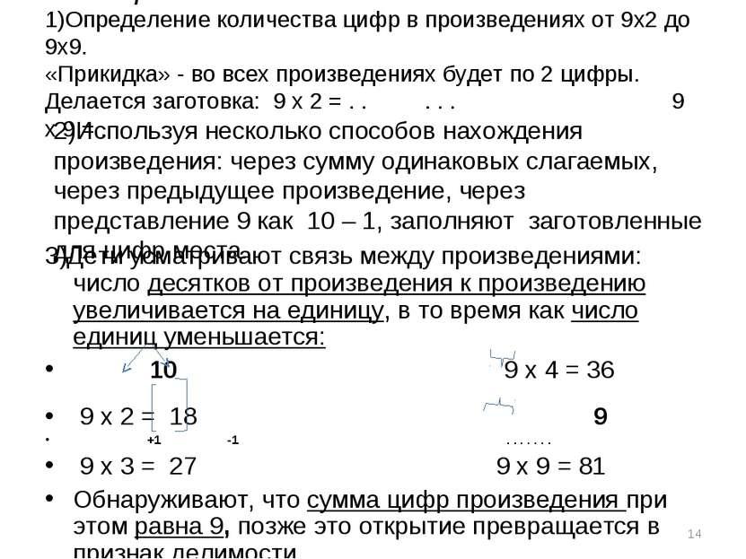 ТАБЛИЦА УМНОЖЕНИЯ на 9 1)Определение количества цифр в произведениях от 9х2 д...