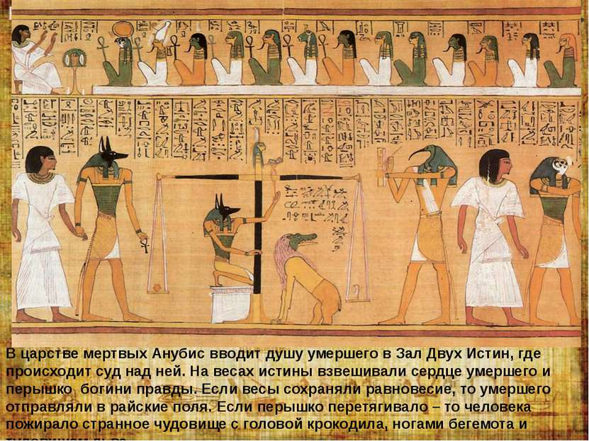 В царстве мертвых Анубис вводит душу умершего в Зал Двух Истин, где происходи...