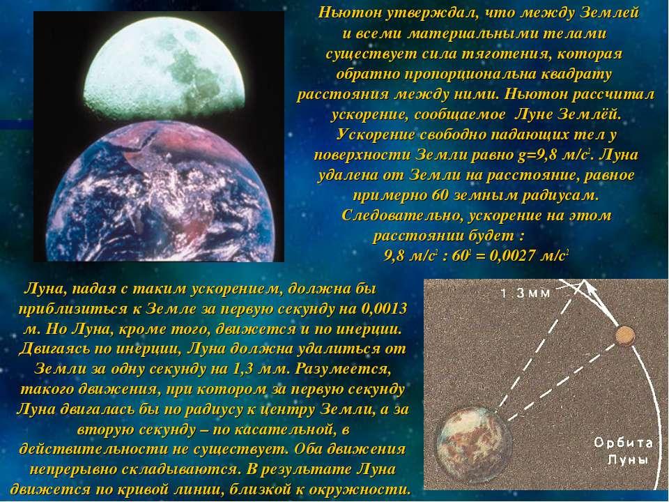 Ньютон утверждал, что между Землей и всеми материальными телами существует си...