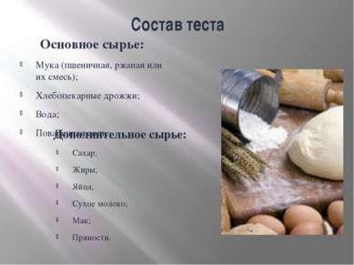 Состав теста Основное сырье: Мука (пшеничная, ржаная или их смесь); Хлебопека...