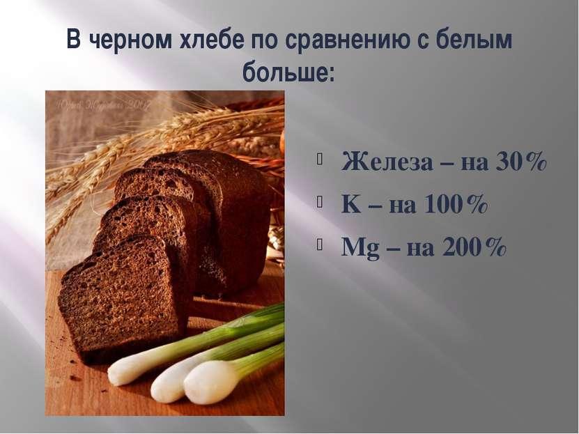В черном хлебе по сравнению с белым больше: Железа – на 30% K – на 100% Mg – ...