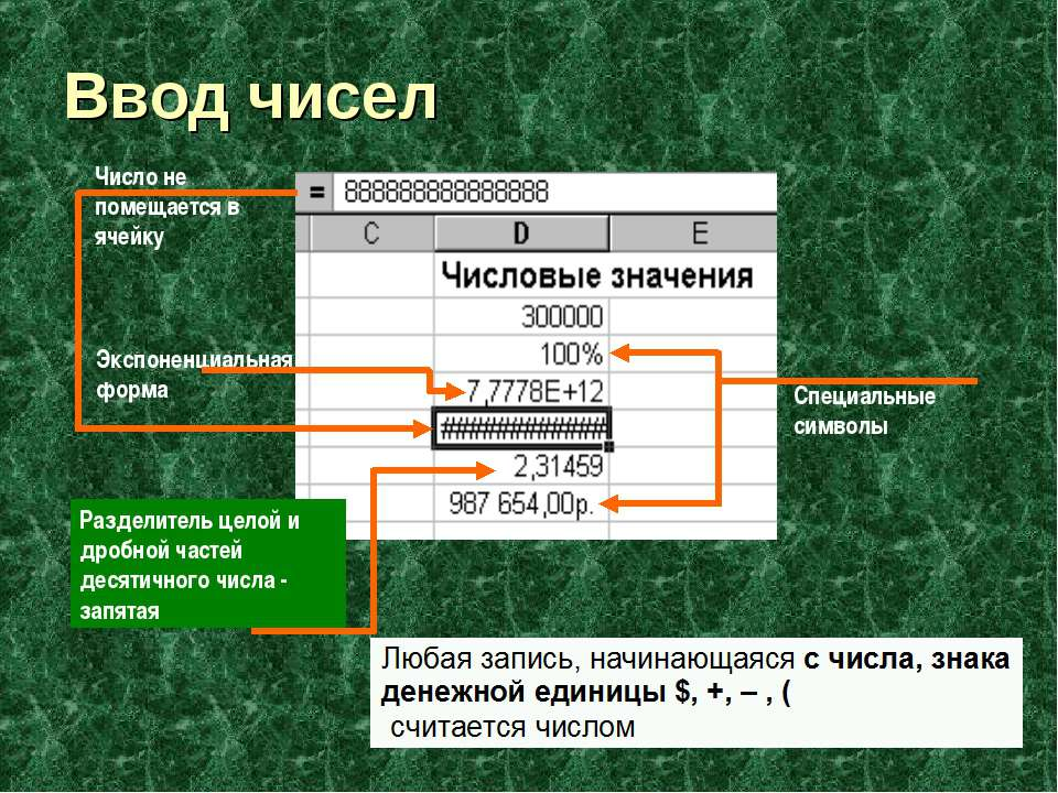 Ввод чисел Экспоненциальная форма Специальные символы Число не помещается в я...