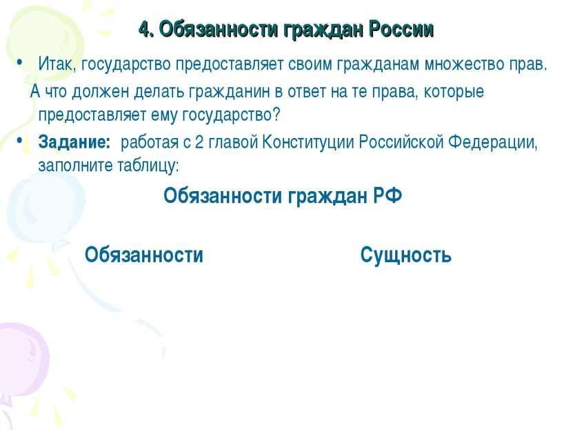 4. Обязанности граждан России Итак, государство предоставляет своим гражданам...