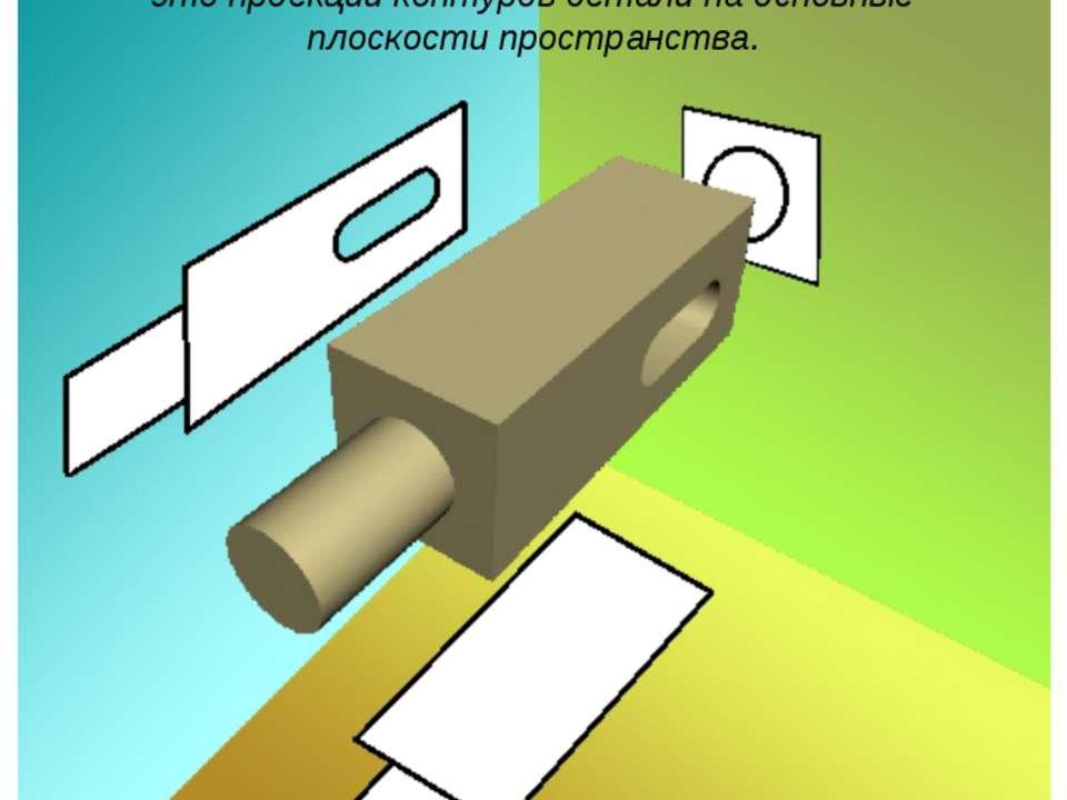 Изображения детали на чертеже — это проекции контуров детали на основные плос...