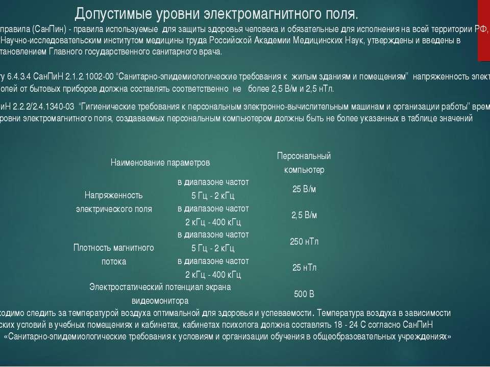 Допустимые уровни электромагнитного поля. Согласно пункту 6.4.3.4 СанПиН 2.1....