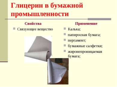Глицерин в бумажной промышленности Свойства Связующее вещество Применение Кал...