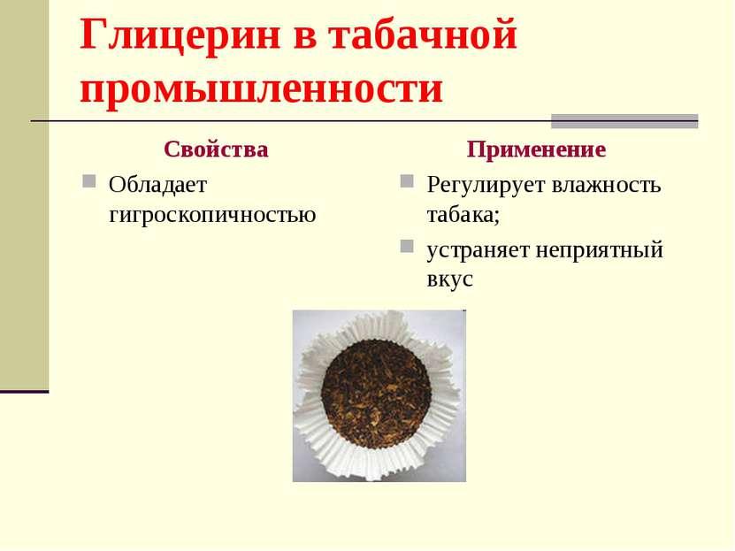 Глицерин в табачной промышленности Свойства Обладает гигроскопичностью Примен...