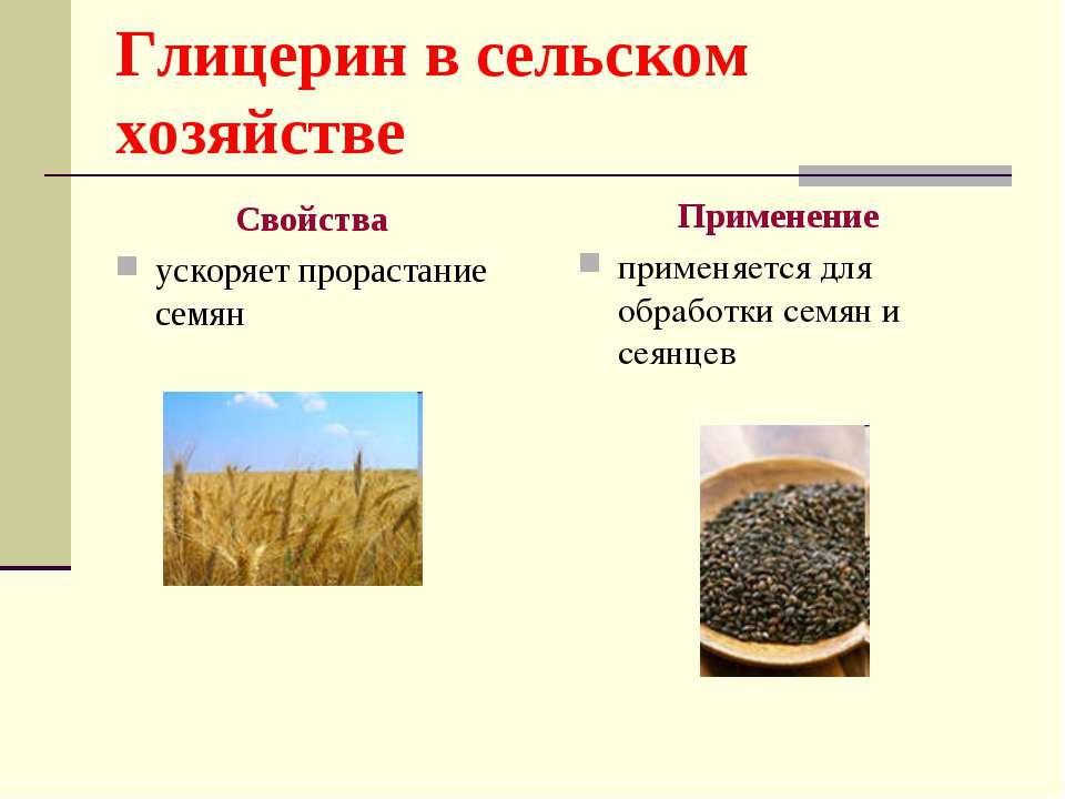 Глицерин в сельском хозяйстве Свойства ускоряет прорастание семян Применение ...