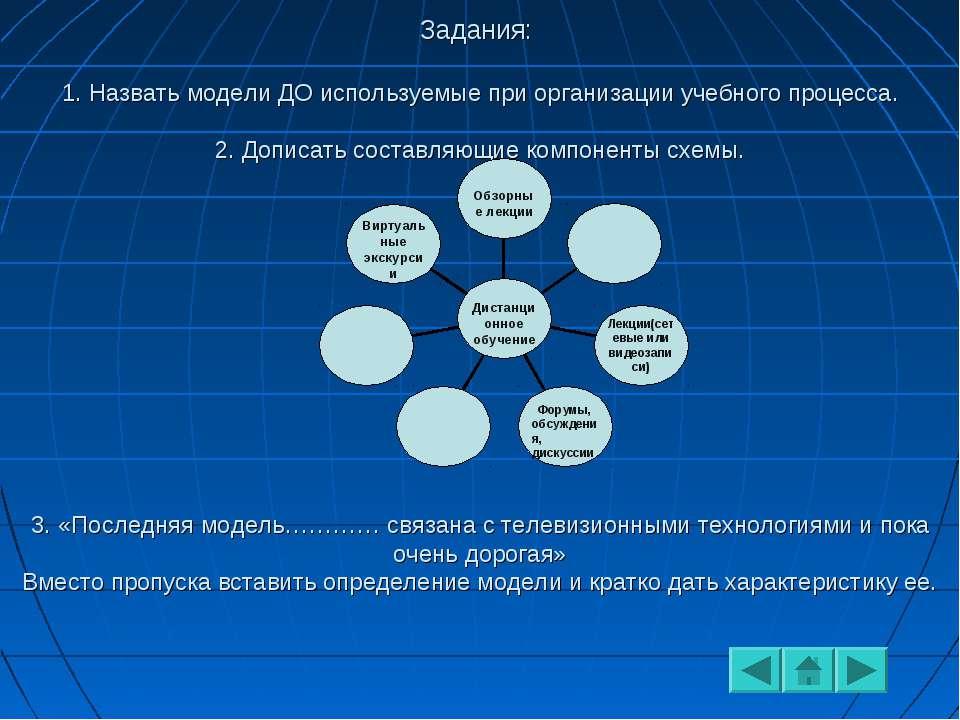 Задания: 1. Назвать модели ДО используемые при организации учебного процесса....