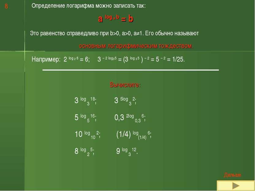 Определение логарифма можно записать так: a log a b = b Это равенство справед...
