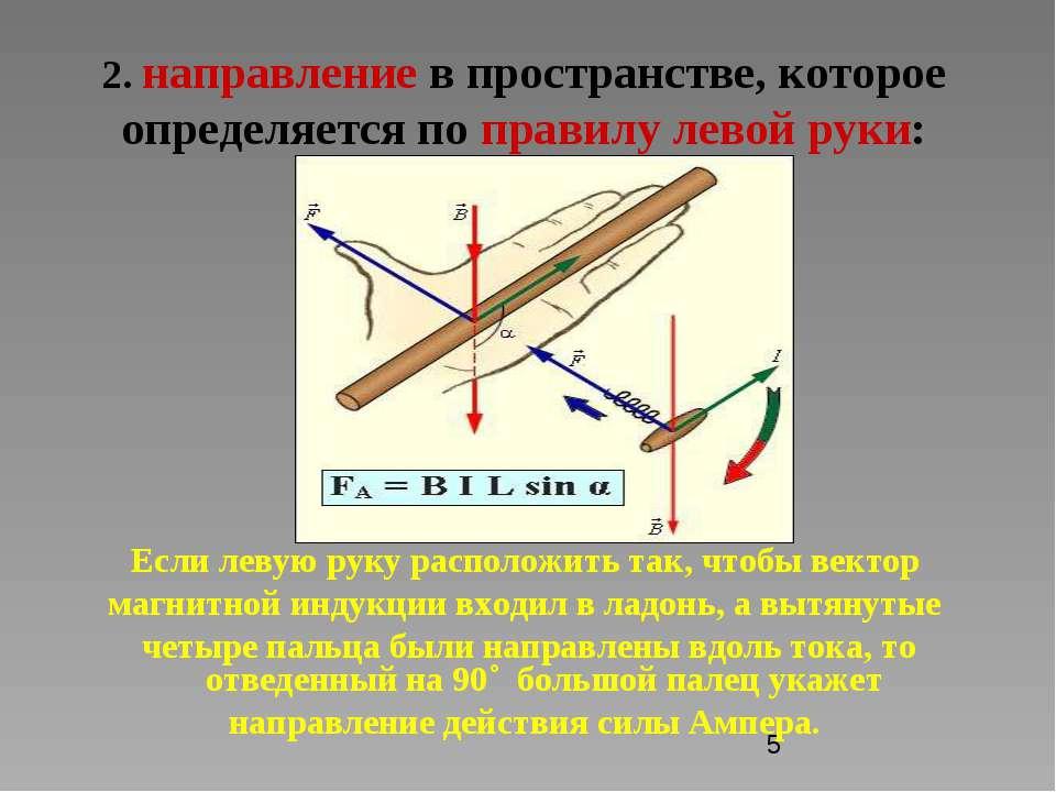 2. направление в пространстве, которое определяется по правилу левой руки: Ес...