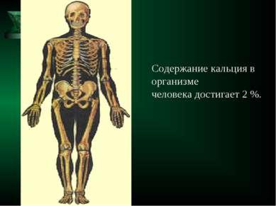 Содержание кальция в организме человека достигает 2 %.
