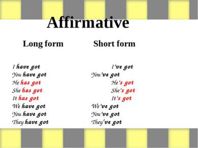 Affirmative Long form Short form I have got I've got You have got You've got ...