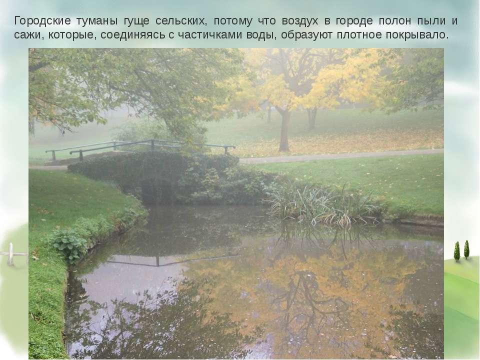 Городские туманы гуще сельских, потому что воздух в городе полон пыли и сажи,...