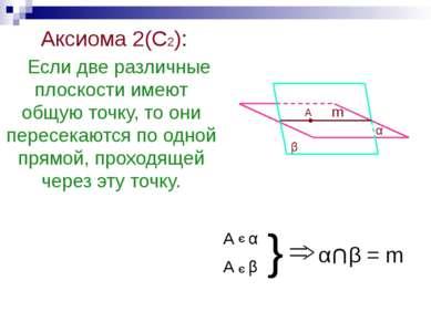 Аксиома 2(С2): Если две различные плоскости имеют общую точку, то они пересек...