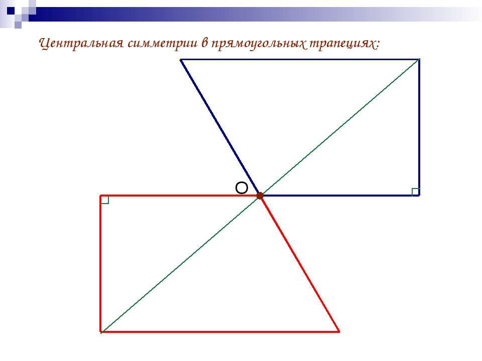 Центральная симметрии в прямоугольных трапециях: О
