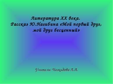 Литература ХХ века. Рассказ Ю.Нагибина «Мой первый друг, мой друг бесценный» ...