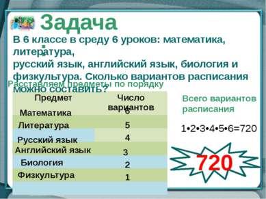 Расставляем предметы по порядку Математика 6 Литература 5 Русский язык 4 Англ...