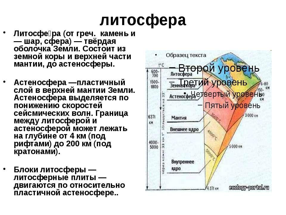 литосфера Литосфе ра (от греч. камень и — шар, сфера) — твёрдая оболочка Земл...