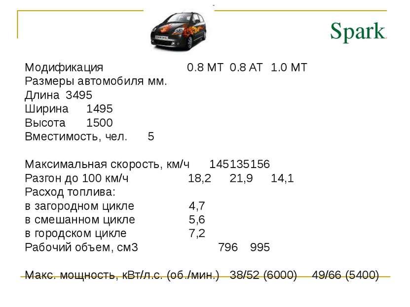 Spark Модификация 0.8 MT 0.8 AT 1.0 MT Размеры автомобиля мм. Длина 3495 Шири...