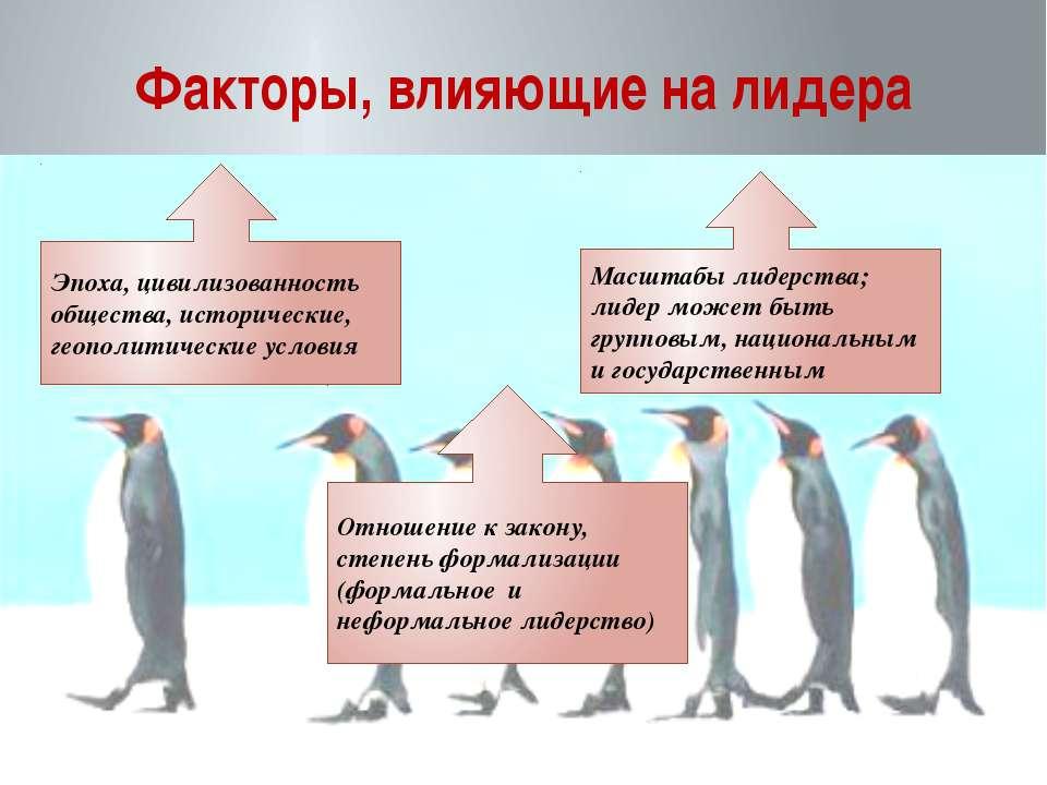 Факторы, влияющие на лидера Эпоха, цивилизованность общества, исторические, г...