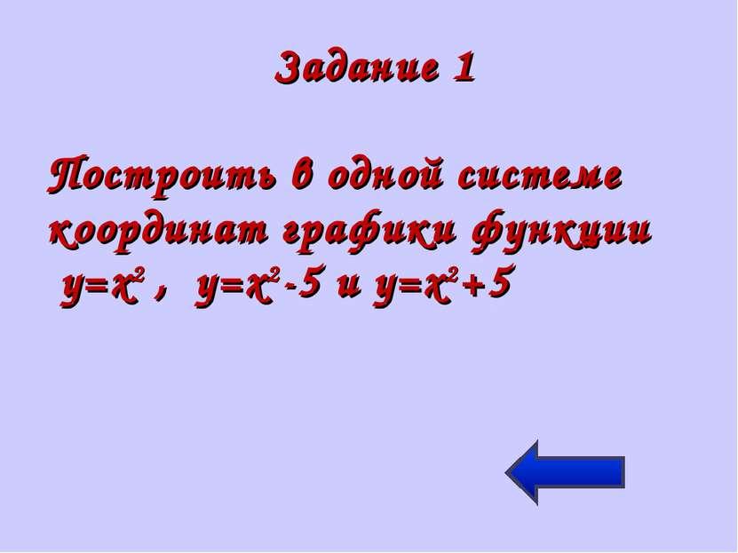 Задание 1 Построить в одной системе координат графики функции y=x2 , y=x2-5 и...