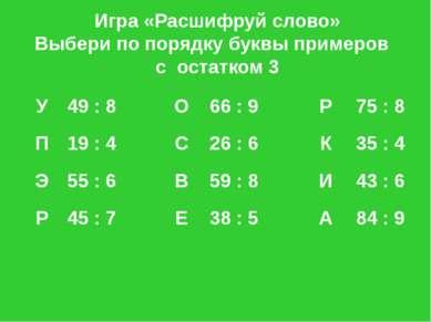 Игра «Расшифруй слово» Выбери по порядку буквы примеров с остатком 3 У 49:8 О...