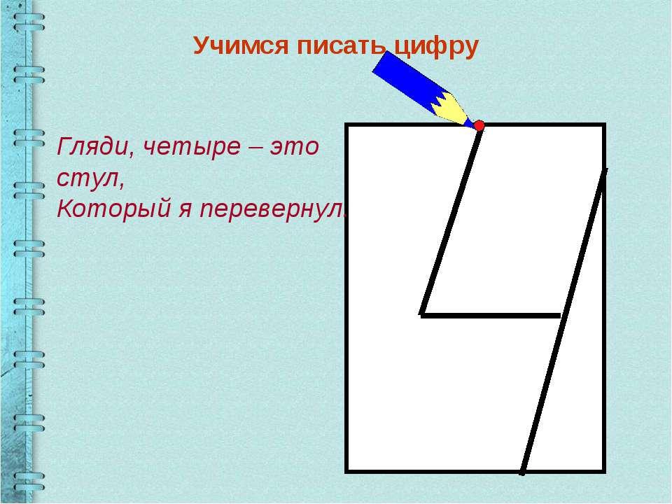 Учимся писать цифру Гляди, четыре – это стул, Который я перевернул.