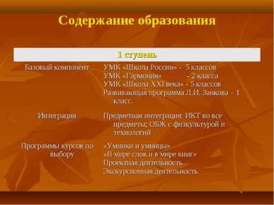 Содержание образования 1 ступень Базовый компонент УМК «Школа России» - 5 кла...