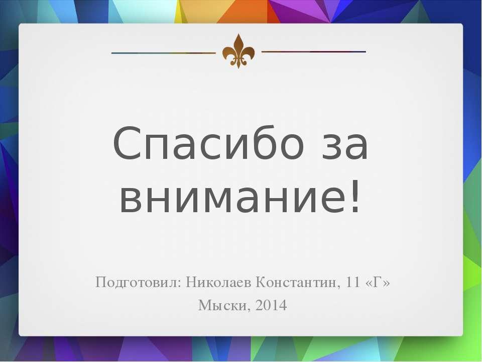 Спасибо за внимание! Подготовил: Николаев Константин, 11 «Г» Мыски, 2014
