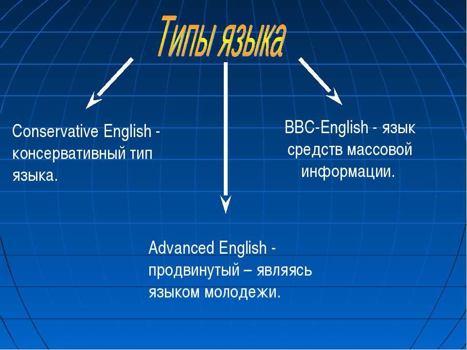 BBC-English - язык средств массовой информации. Conservative English - консер...