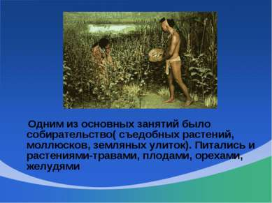 Одним из основных занятий было собирательство( съедобных растений, моллюсков,...