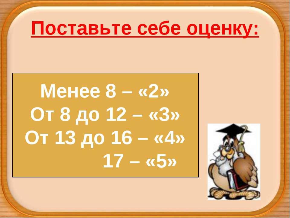 Поставьте себе оценку: Менее 8 – «2» От 8 до 12 – «3» От 13 до 16 – «4» 17 – «5»