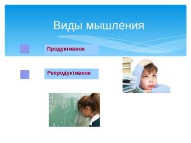 Виды мышления Репродуктивное Продуктивное Под влиянием всевозрастающих требов...